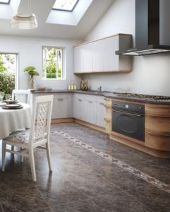 Плитка на кухне, как и в других помещениях, должна подходить по дизайну